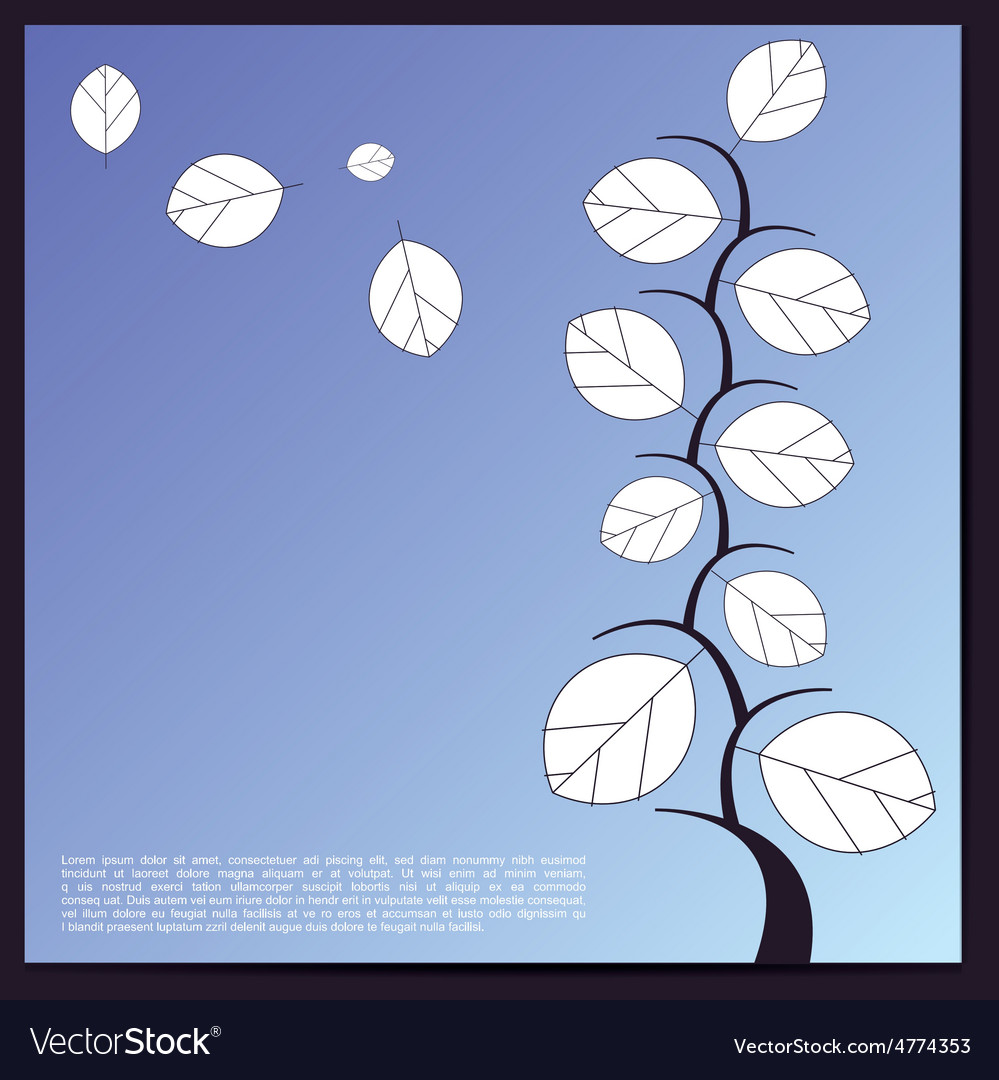 Decorative tree with white leaves on blue vector | Price: 1 Credit (USD $1)