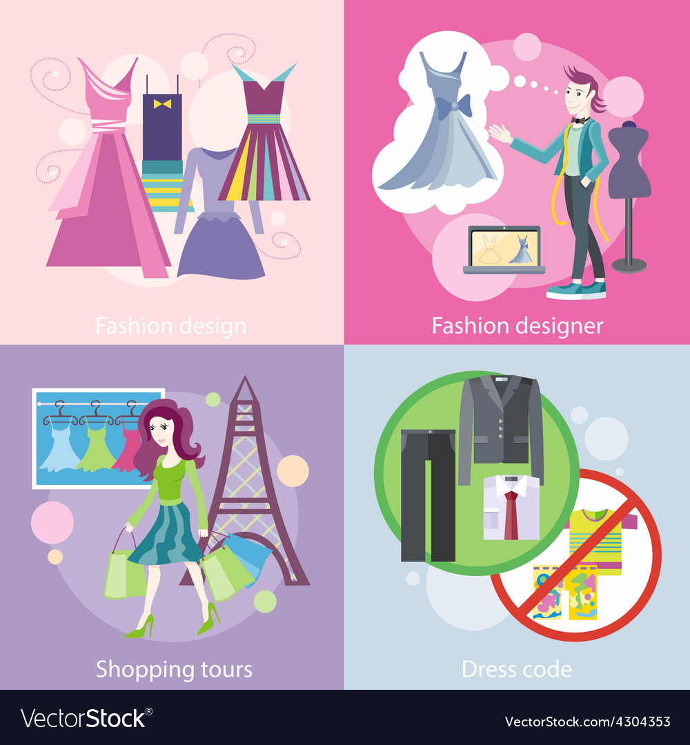 Fashion designer design shopping tour dress code vector | Price: 1 Credit (USD $1)