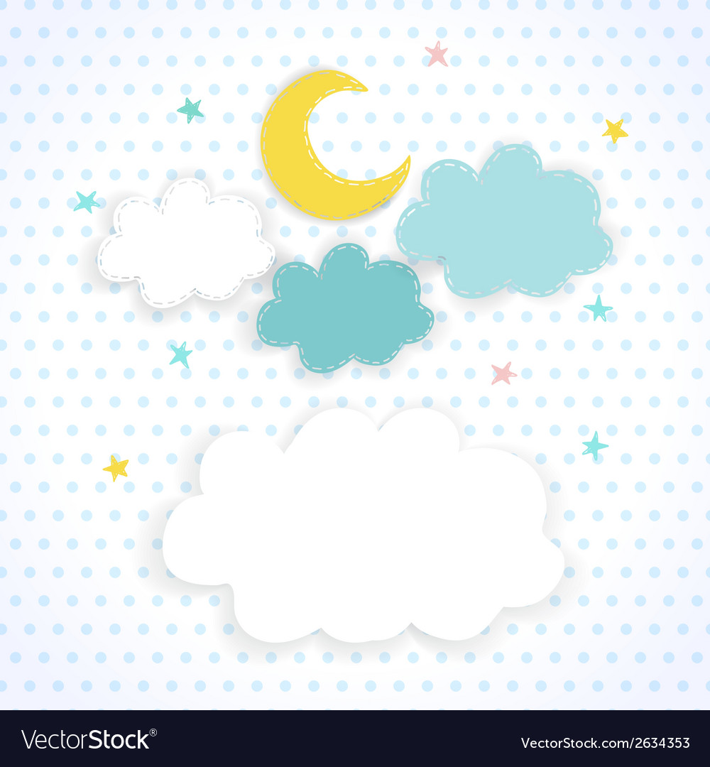 Kids background with moon clouds and stars vector | Price: 1 Credit (USD $1)