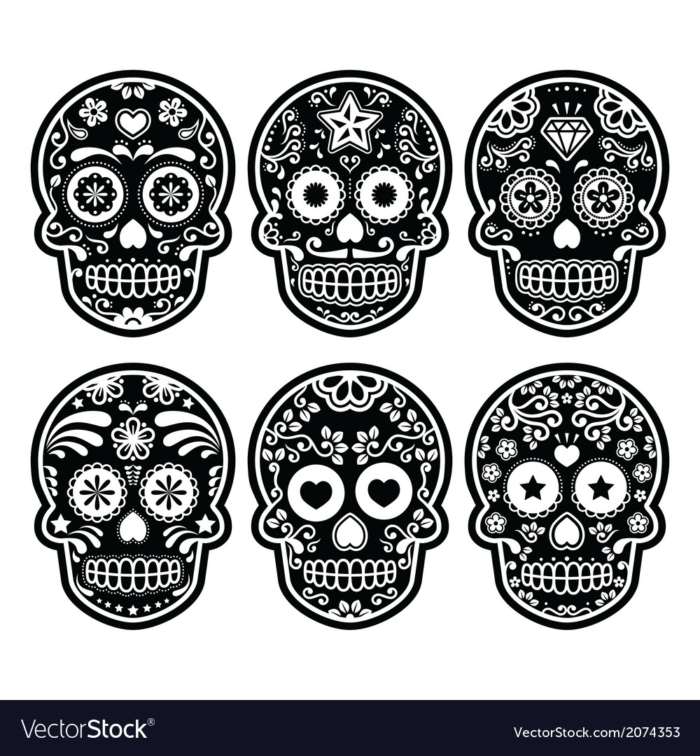 Mexican sugar skull dia de los muertos black icon vector | Price: 1 Credit (USD $1)