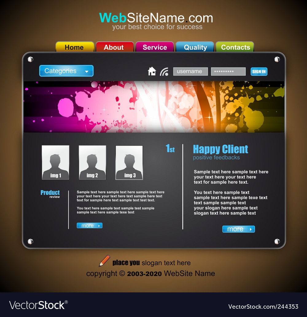 Modern abstract colorful website template vector | Price: 3 Credit (USD $3)