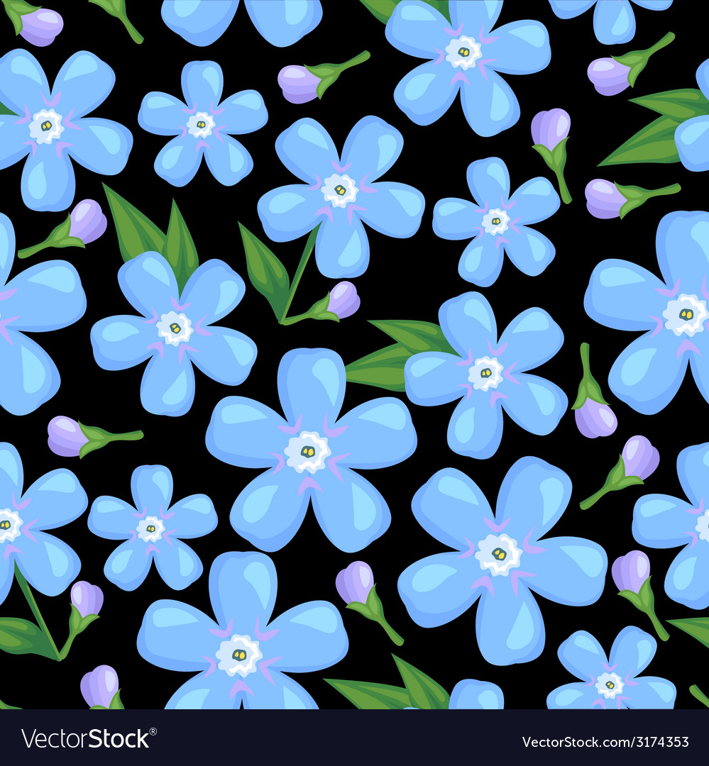 Myosotis pattern black vector | Price: 1 Credit (USD $1)