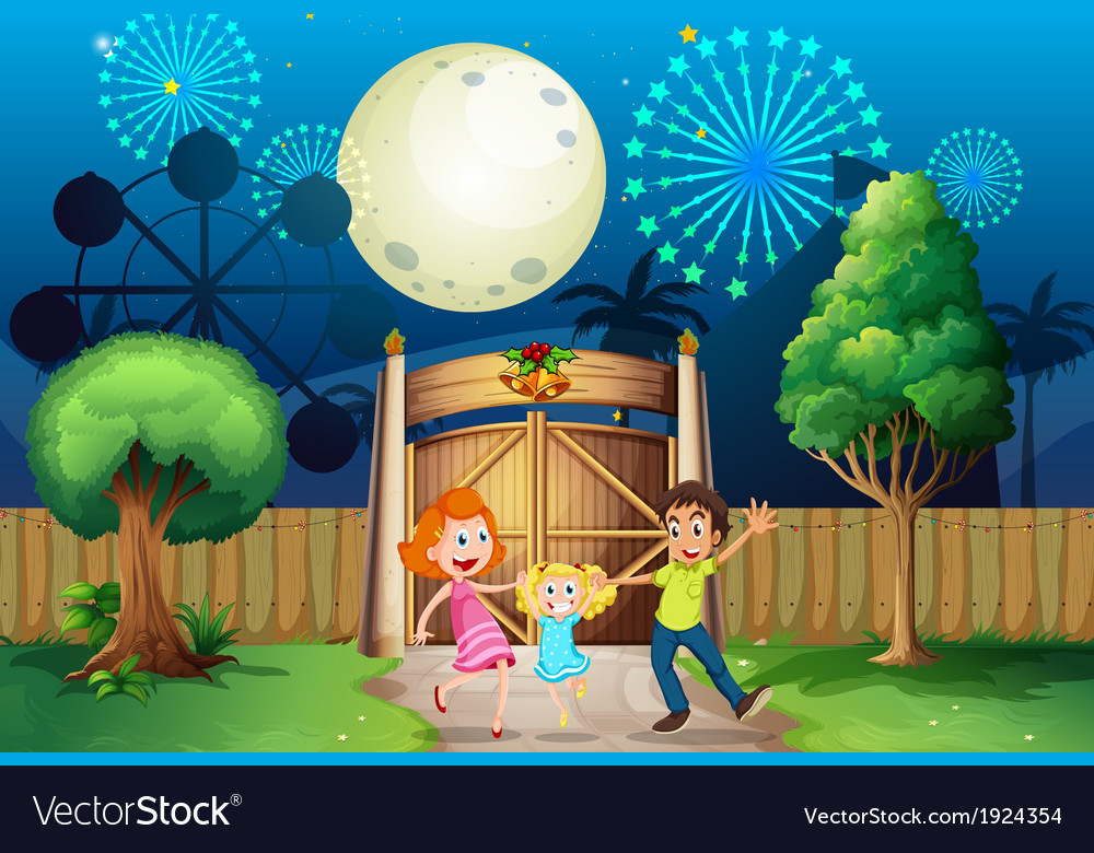 A happy family inside the yard vector | Price: 3 Credit (USD $3)