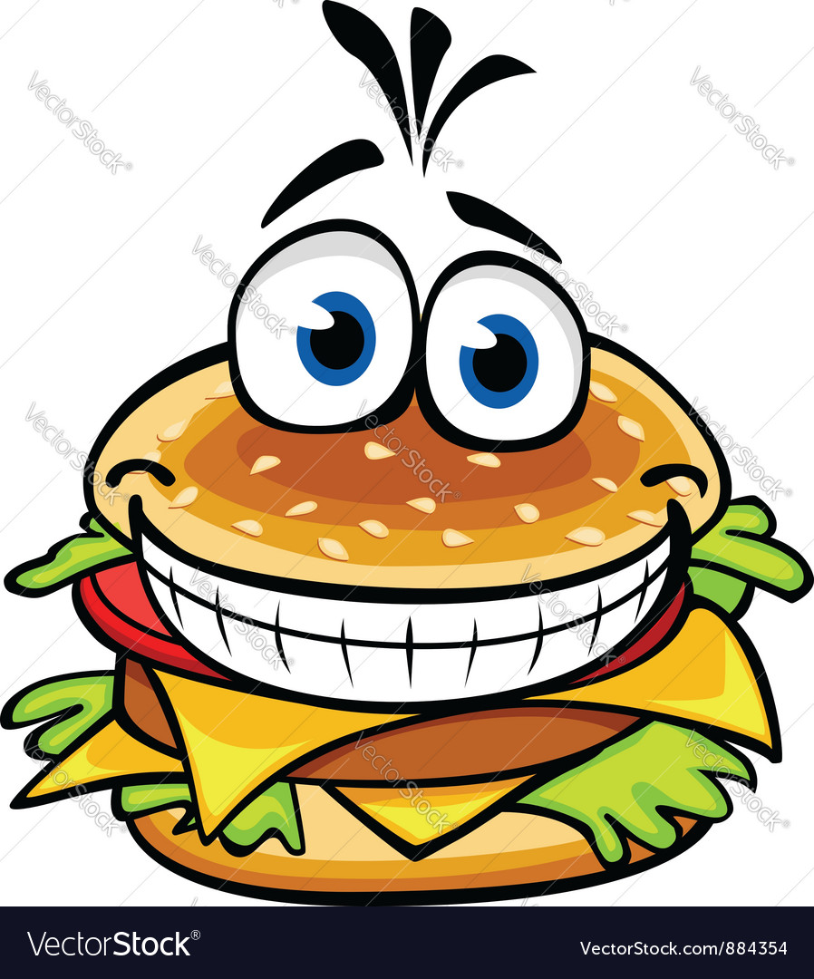 Appetizing smiling hamburger vector | Price: 1 Credit (USD $1)