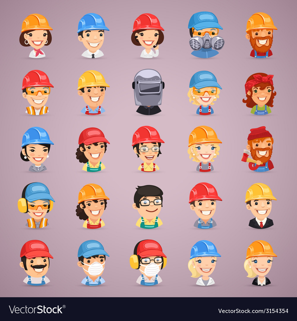Builders cartoon characters icons set vector | Price: 1 Credit (USD $1)