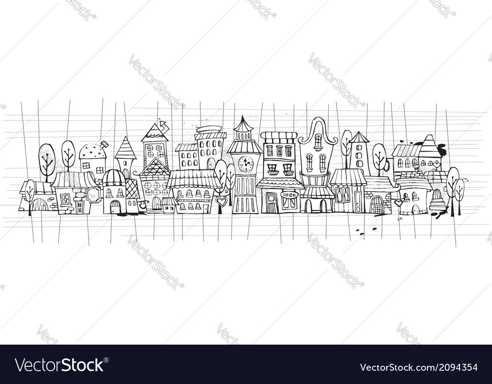 Cartoon contour town vector | Price: 1 Credit (USD $1)