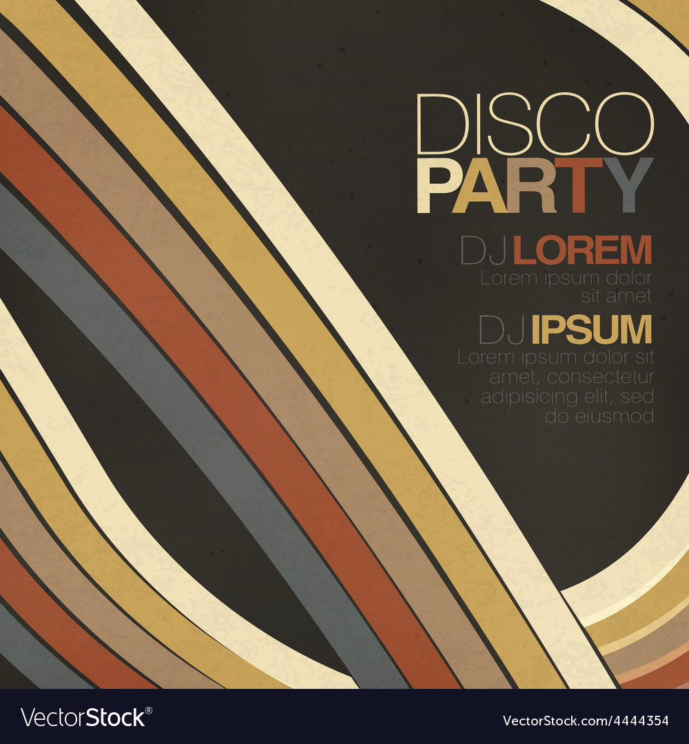 Disco party retro styled flyer vector | Price: 1 Credit (USD $1)