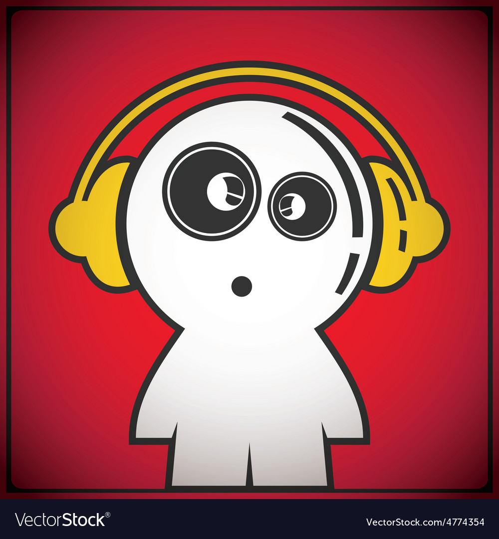 Funny boy with headphones vector | Price: 1 Credit (USD $1)