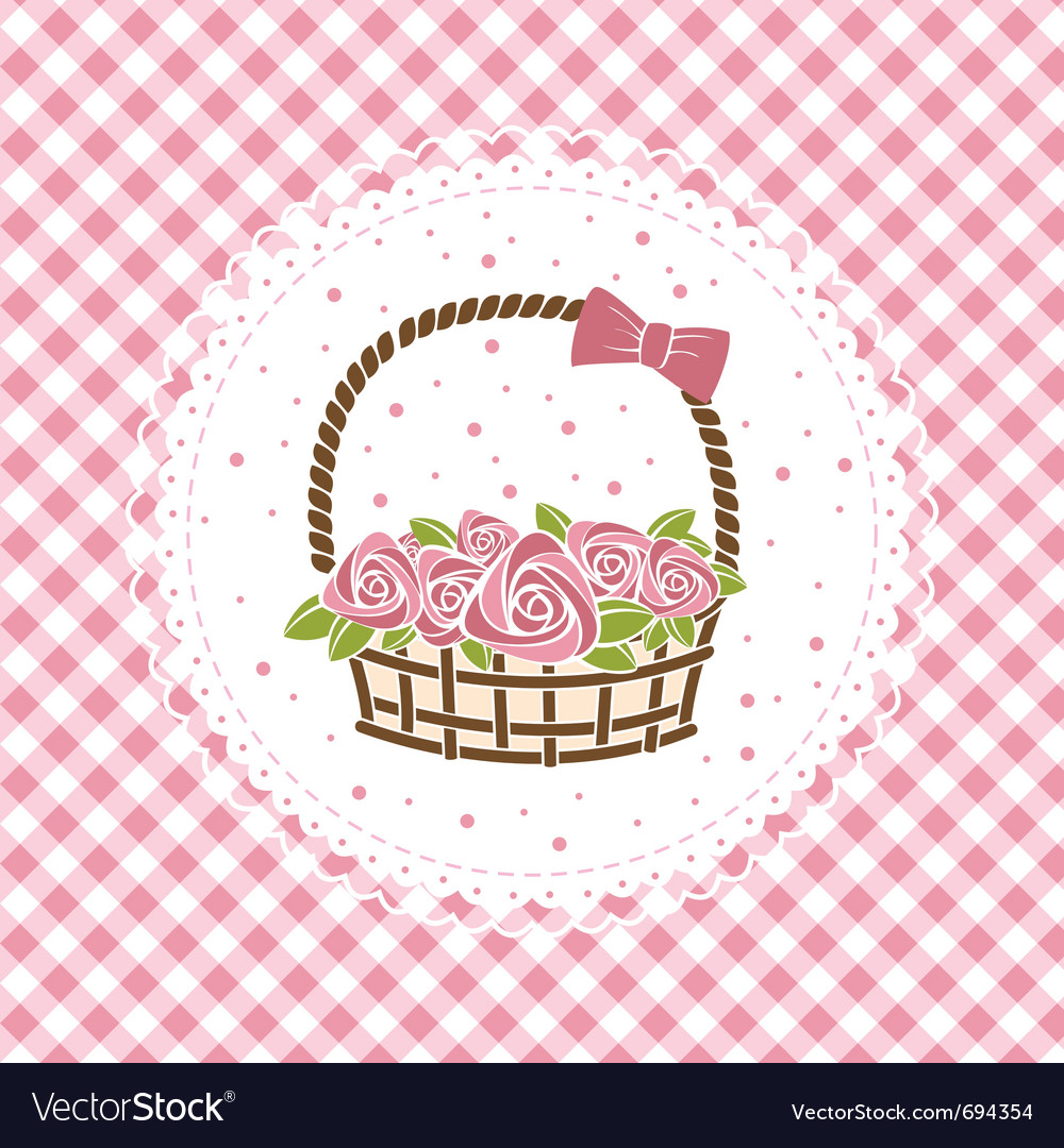 Gift basket with roses vector | Price: 1 Credit (USD $1)