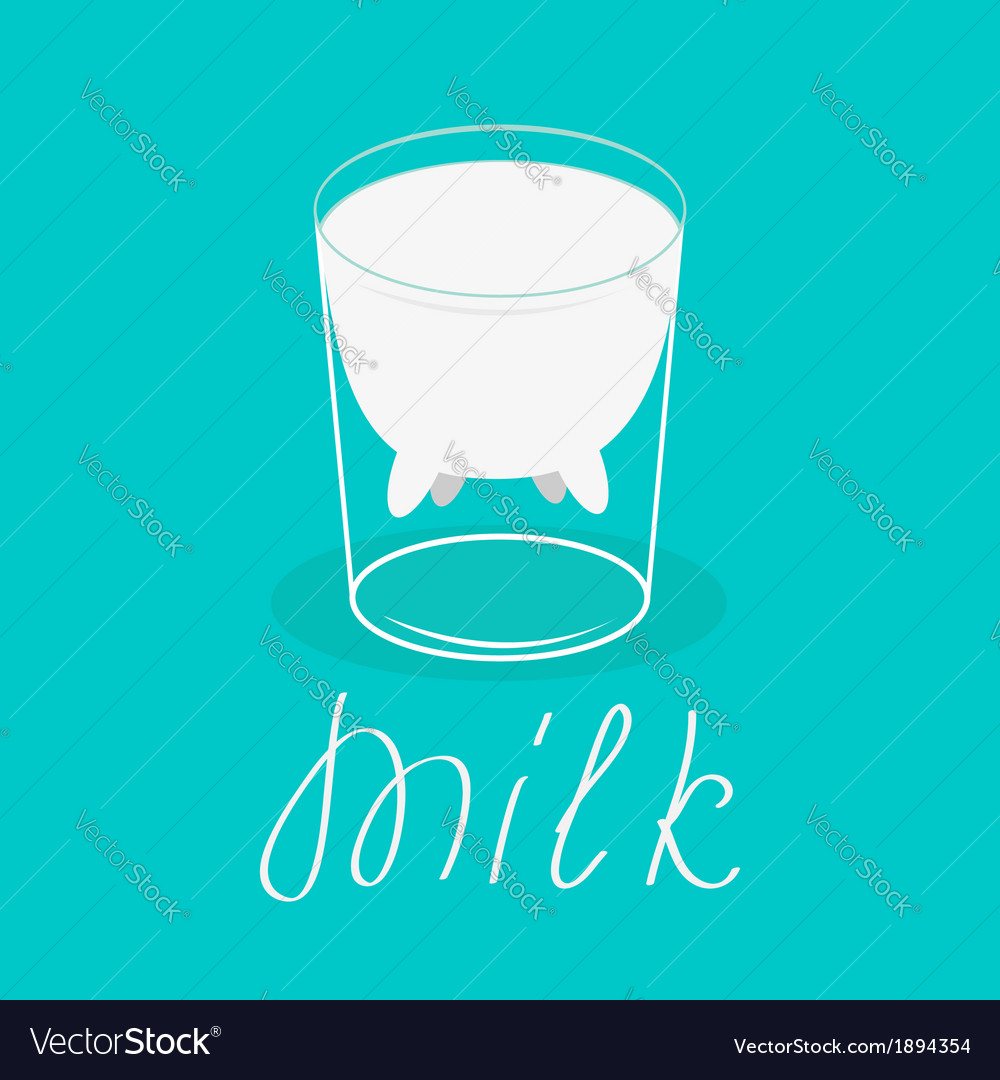 Milk glass with udder of a cow flat design card vector   Price: 1 Credit (USD $1)
