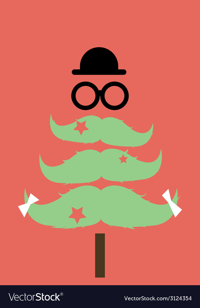 Moustaches christmas tree02 vector | Price: 1 Credit (USD $1)