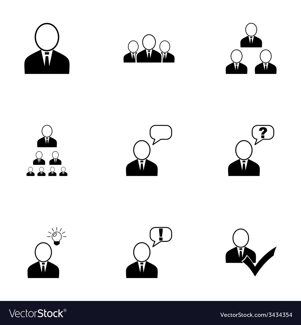Office people icon set vector | Price: 1 Credit (USD $1)