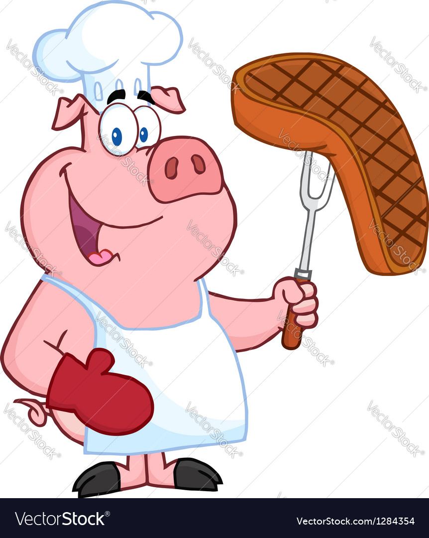 Pig chef holding a fork with roasted steak vector | Price: 1 Credit (USD $1)