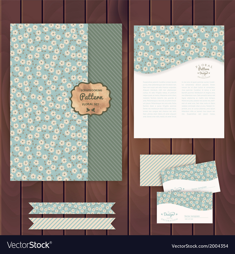 Set of floral vintage wedding cards on wood vector | Price: 1 Credit (USD $1)