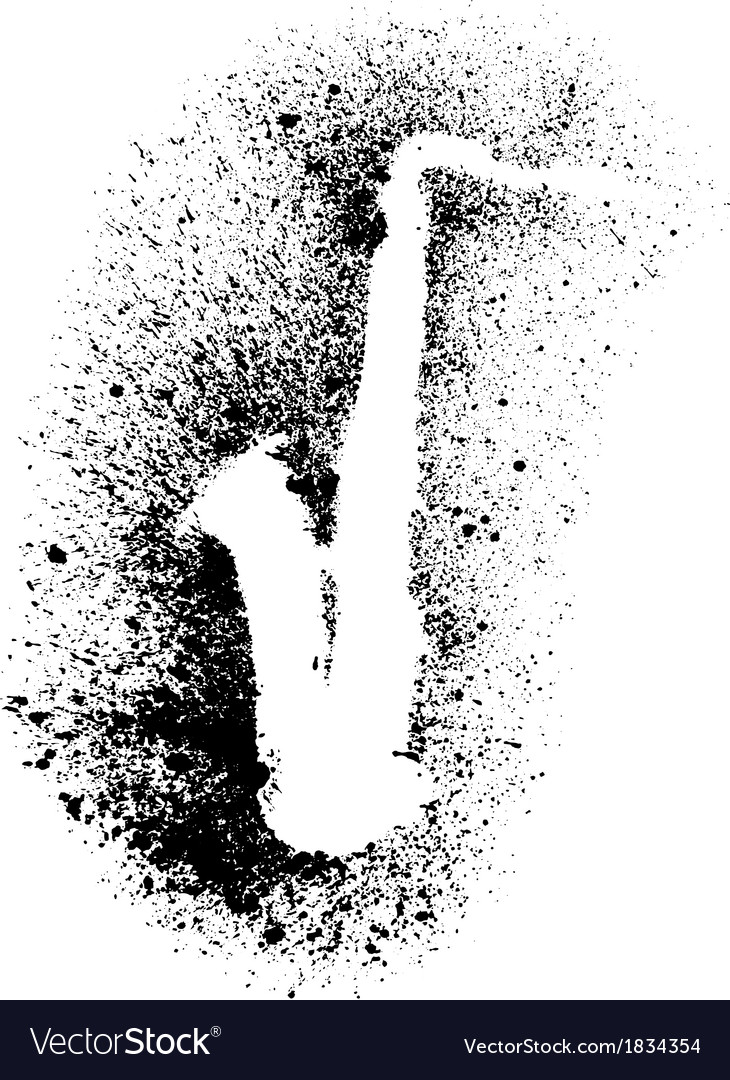 Silhouette of saxophone with grunge black splashes vector | Price: 1 Credit (USD $1)