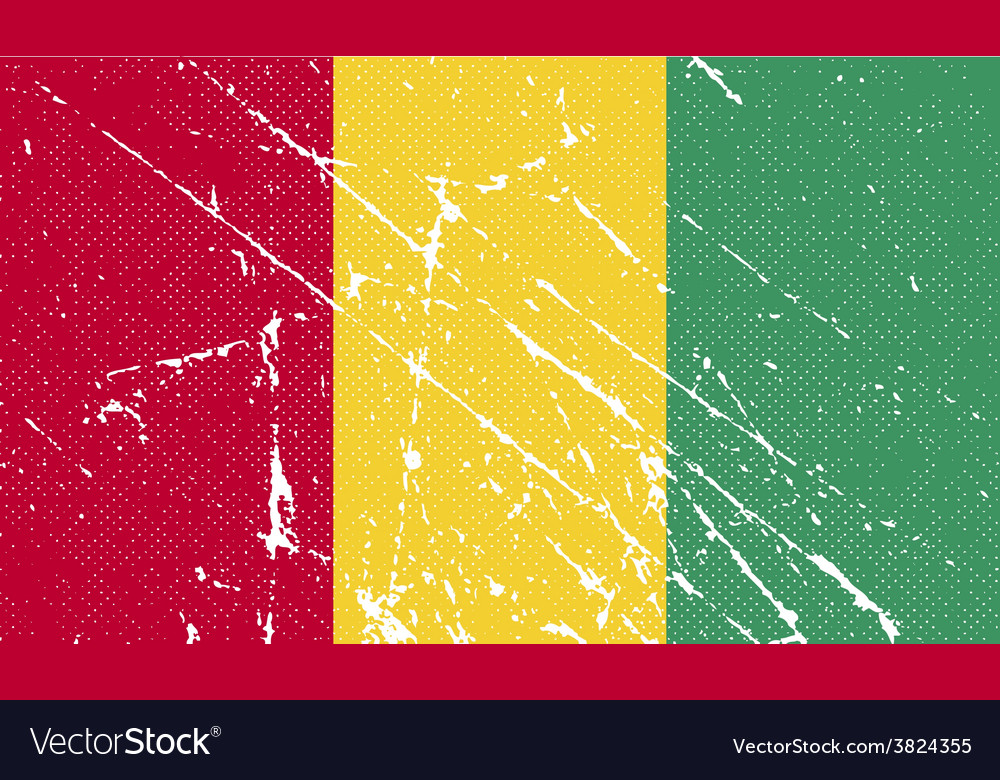 Flag of guinea with old texture vector | Price: 1 Credit (USD $1)