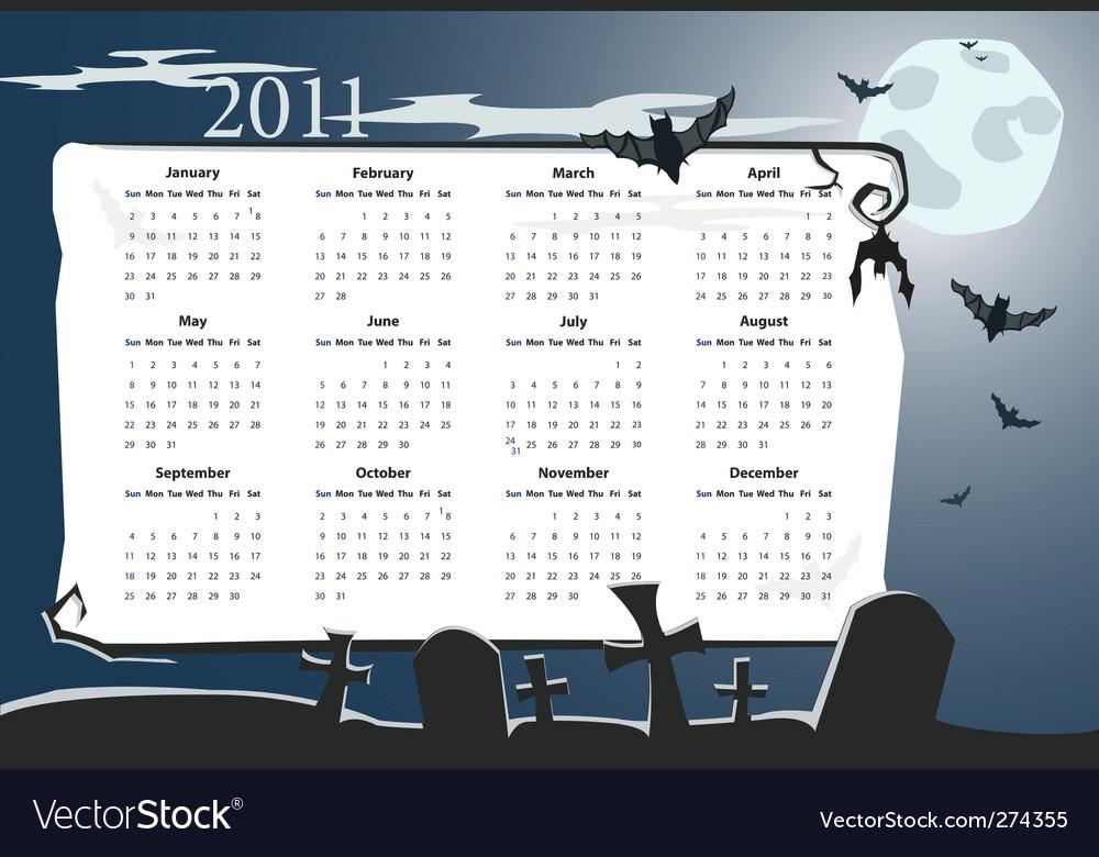 Halloween calendar 2011 with cemetery vector | Price: 1 Credit (USD $1)