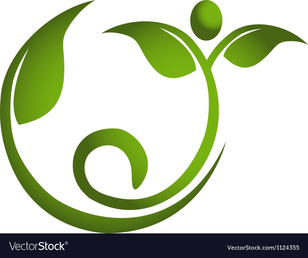 Healthy leaf men fitness logo vector | Price: 1 Credit (USD $1)