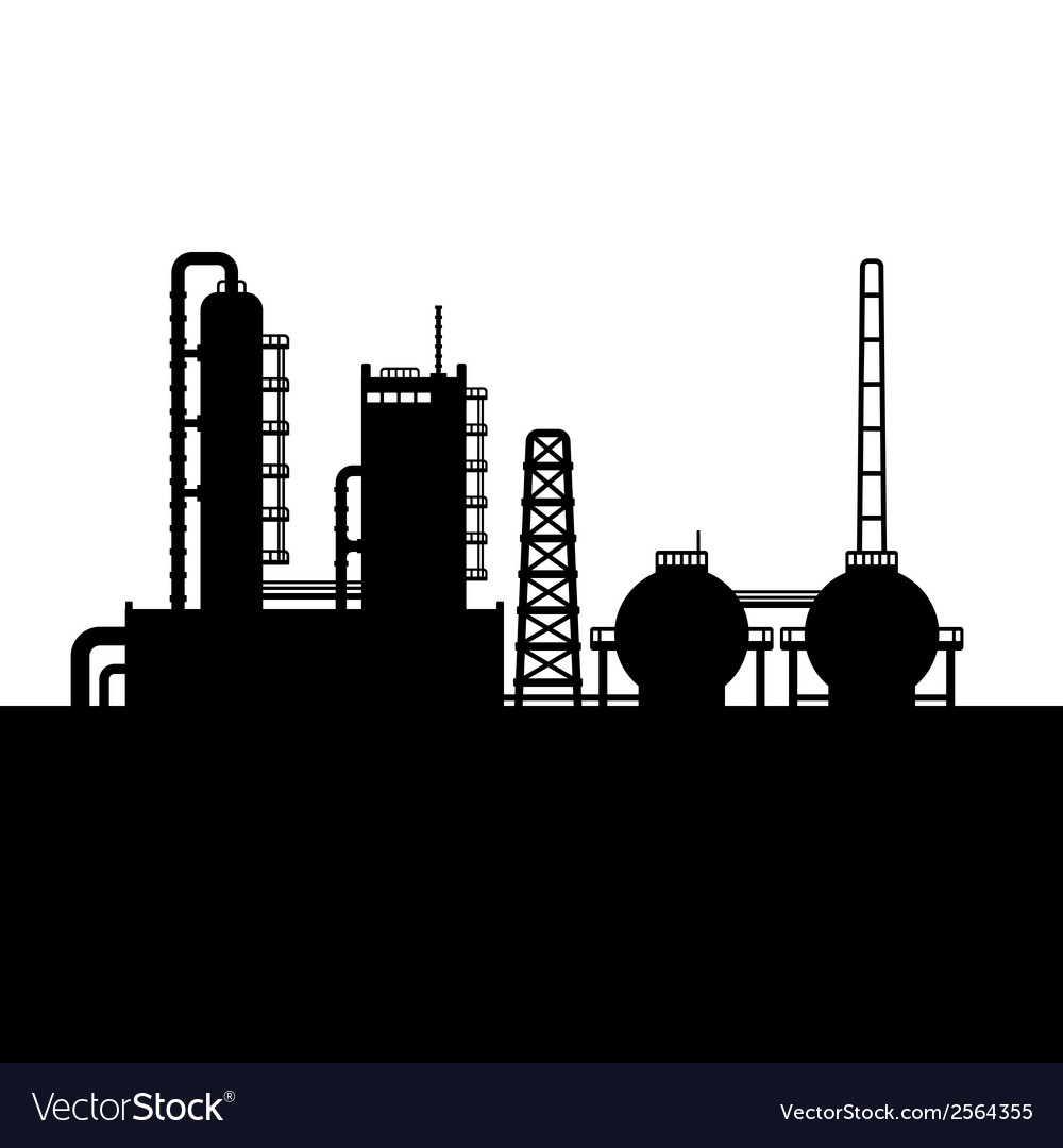 Oil refinery plant and chemical factory silhouette vector | Price: 1 Credit (USD $1)