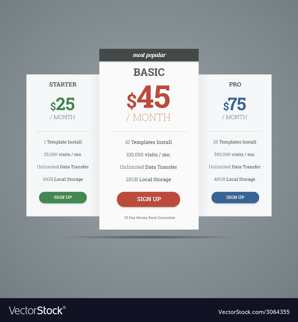 Pricing table with three plans for websites vector | Price: 1 Credit (USD $1)