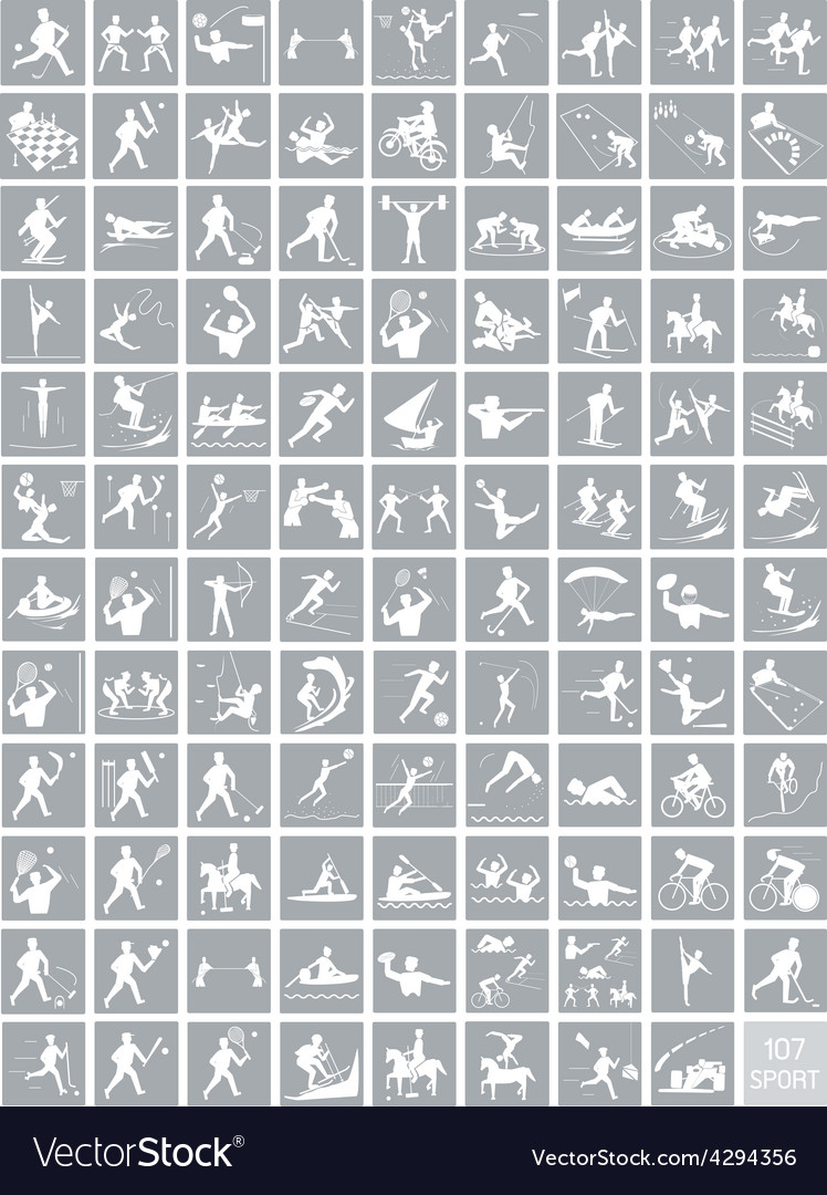 A set of gray and white sport icons vector | Price: 1 Credit (USD $1)