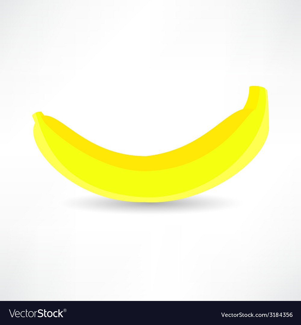 Banana icon isolated black on the white background vector | Price: 1 Credit (USD $1)