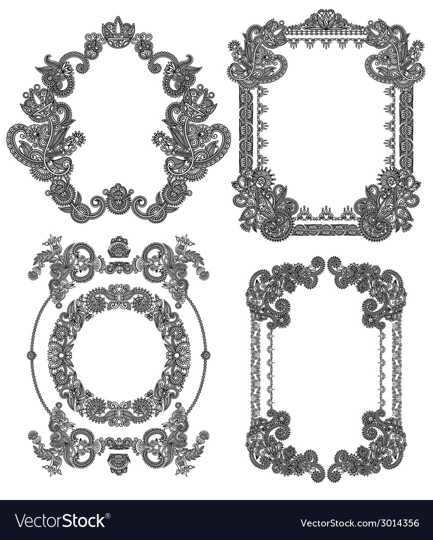 Black line art ornate flower design frame vector | Price: 1 Credit (USD $1)