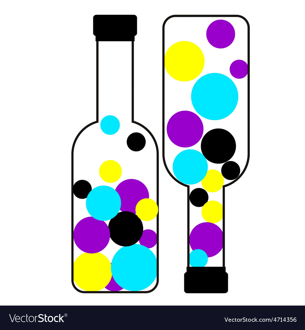 Bottles of ink with cmyk colors vector | Price: 1 Credit (USD $1)
