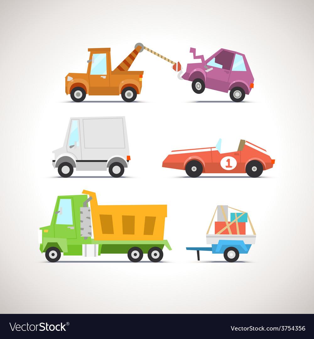 Car flat icon set 4 vector | Price: 3 Credit (USD $3)