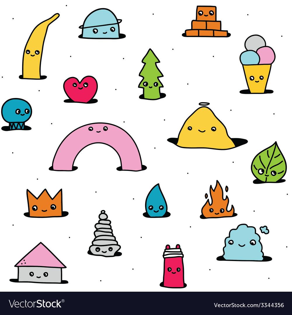 Cute hand drawn cartoon pattern vector | Price: 1 Credit (USD $1)