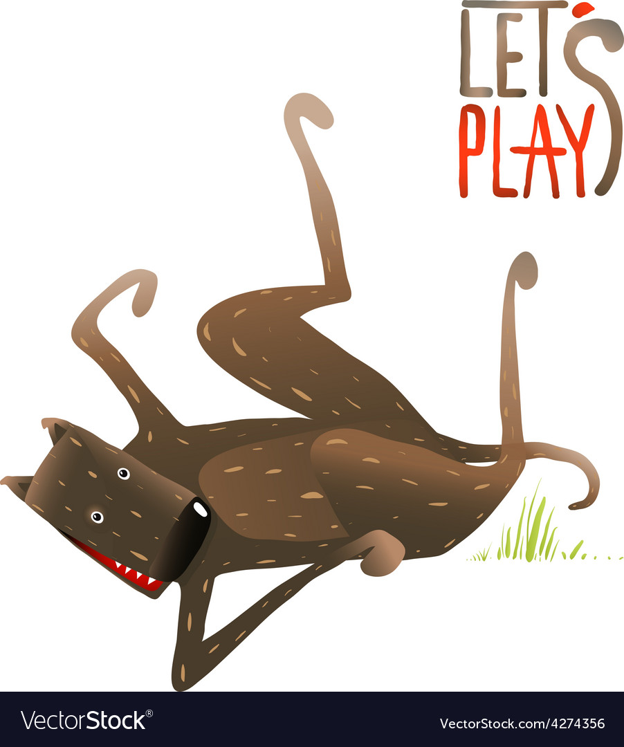 Funny smiling happy dog lying on its back playing vector | Price: 1 Credit (USD $1)