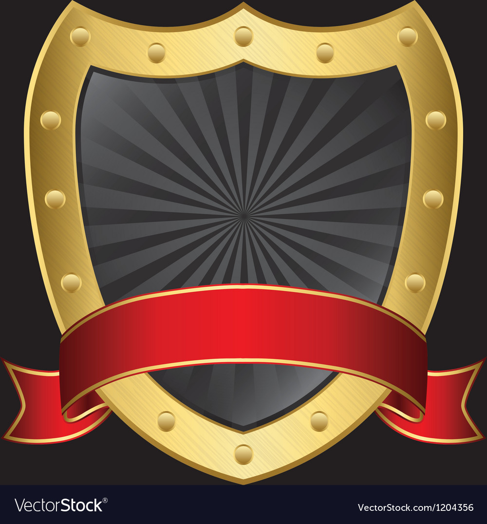 Golden shield with rd ribbon vector | Price: 1 Credit (USD $1)