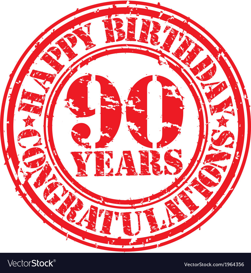 Happy birthday 90 years grunge rubber stamp vector | Price: 1 Credit (USD $1)