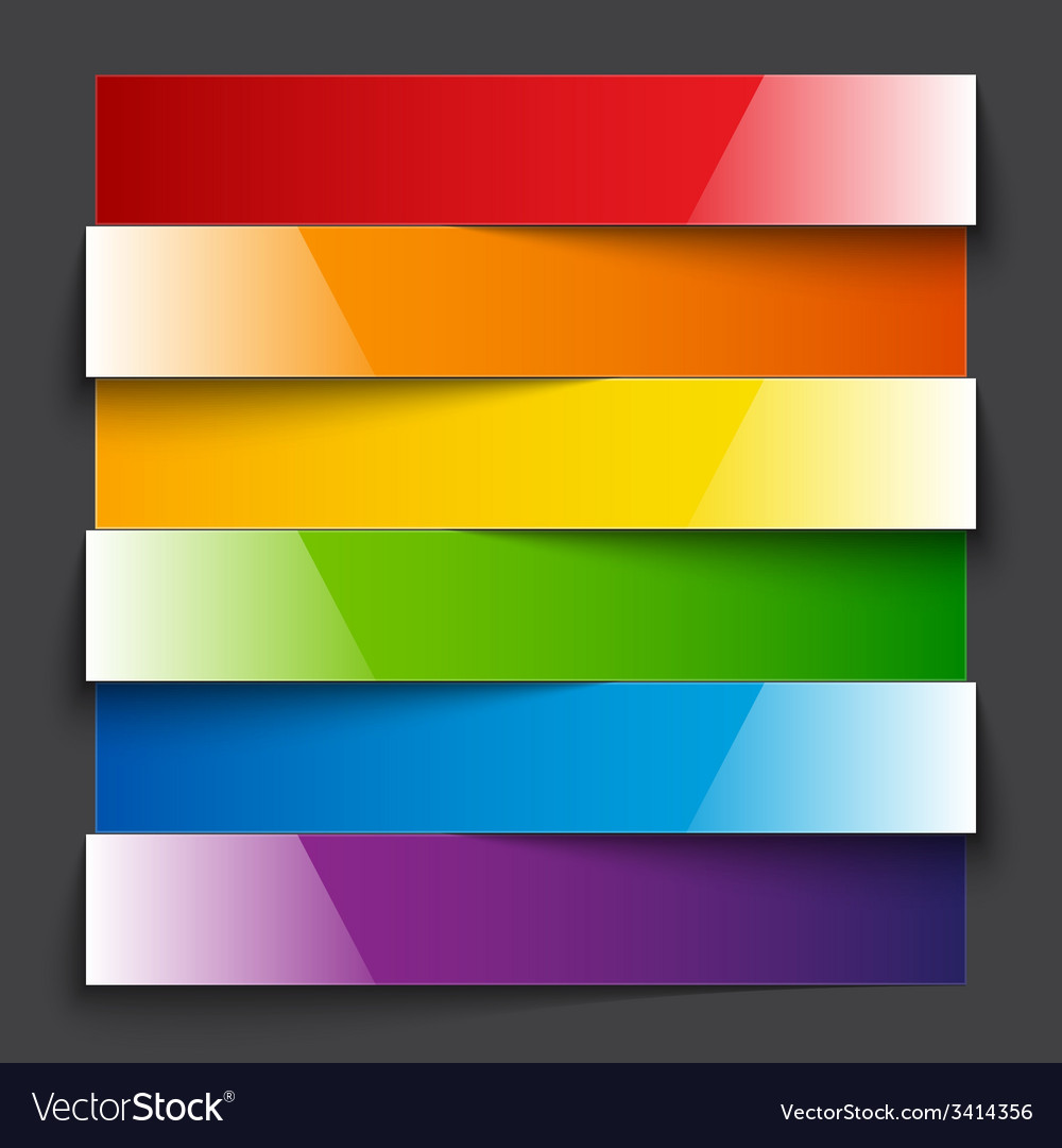 Infographics rainbow shiny paper stripe banners vector | Price: 1 Credit (USD $1)