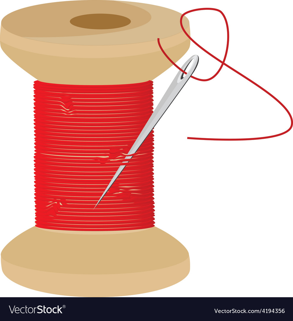 Red thread wooden spool vector | Price: 1 Credit (USD $1)