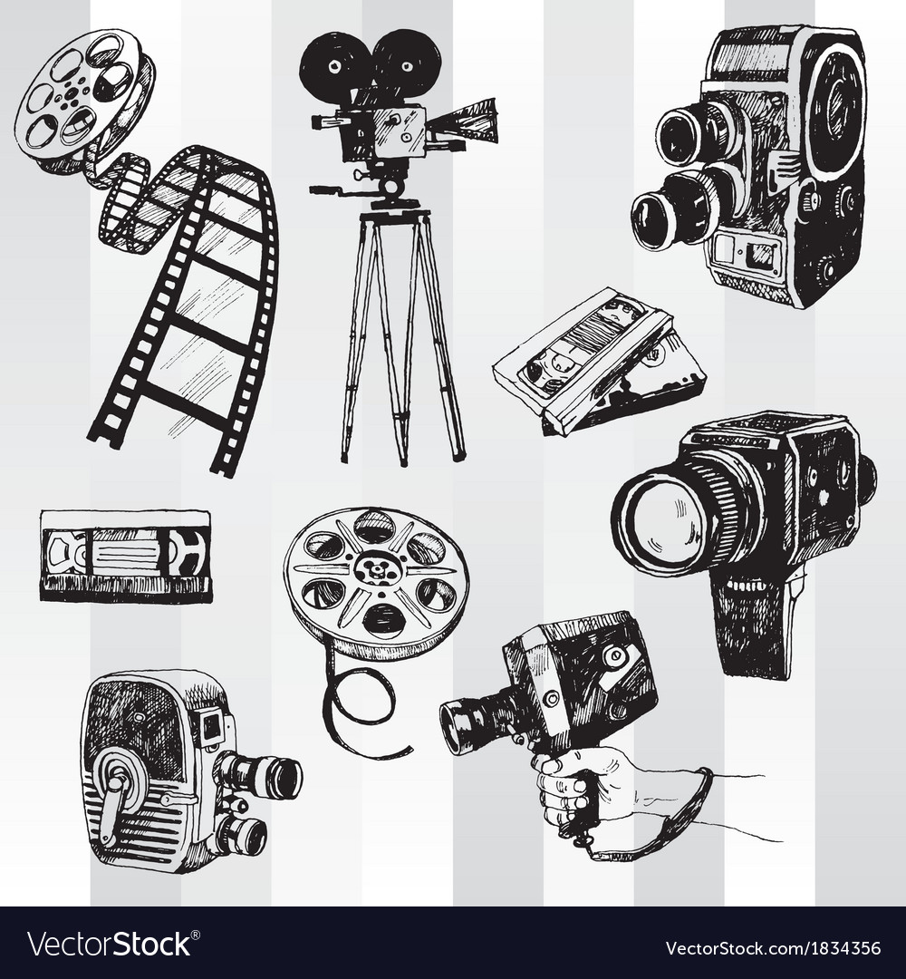 Retro cinema set vector | Price: 1 Credit (USD $1)