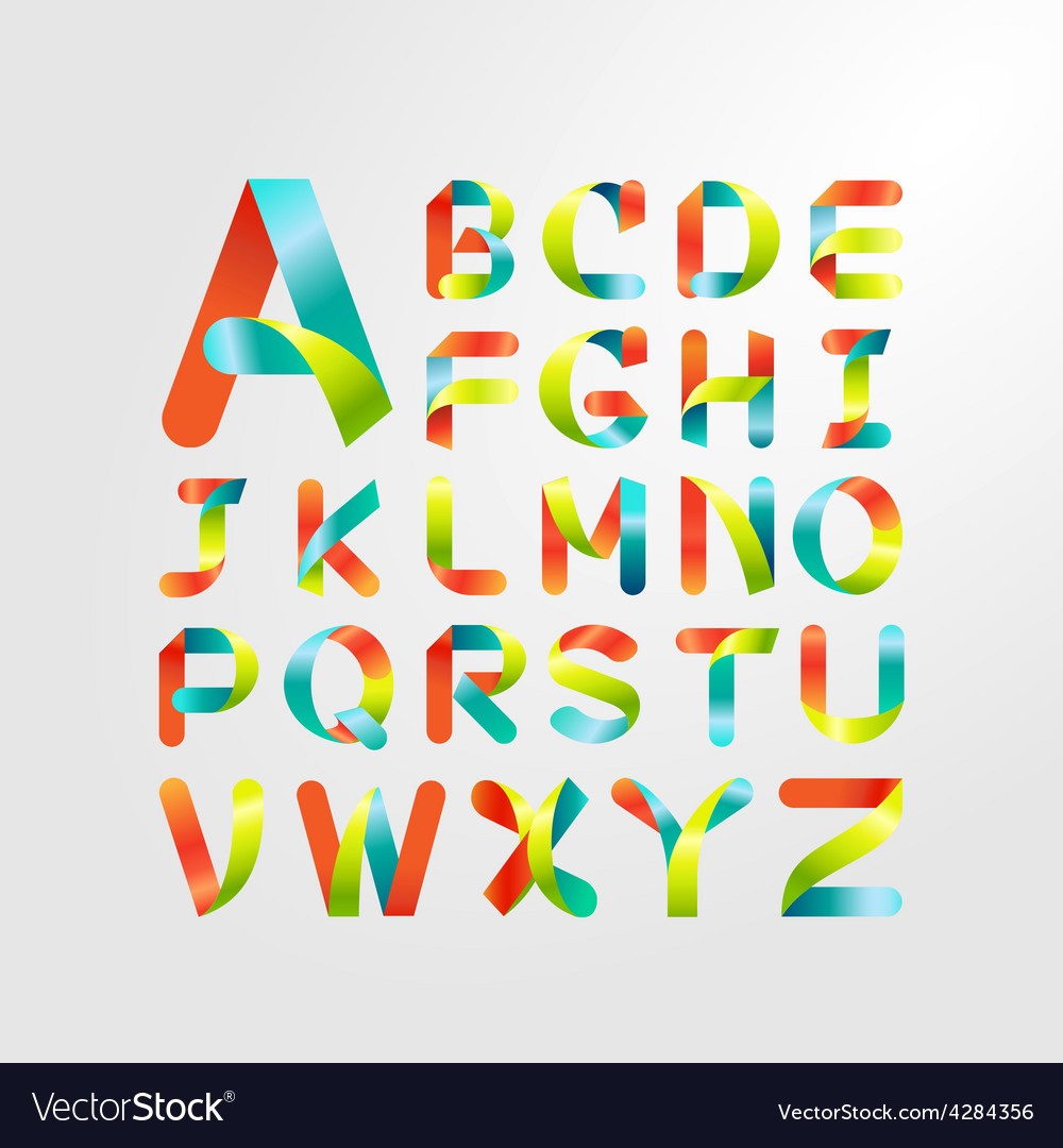 Ribbon alphabet colorful font capital letter az vector