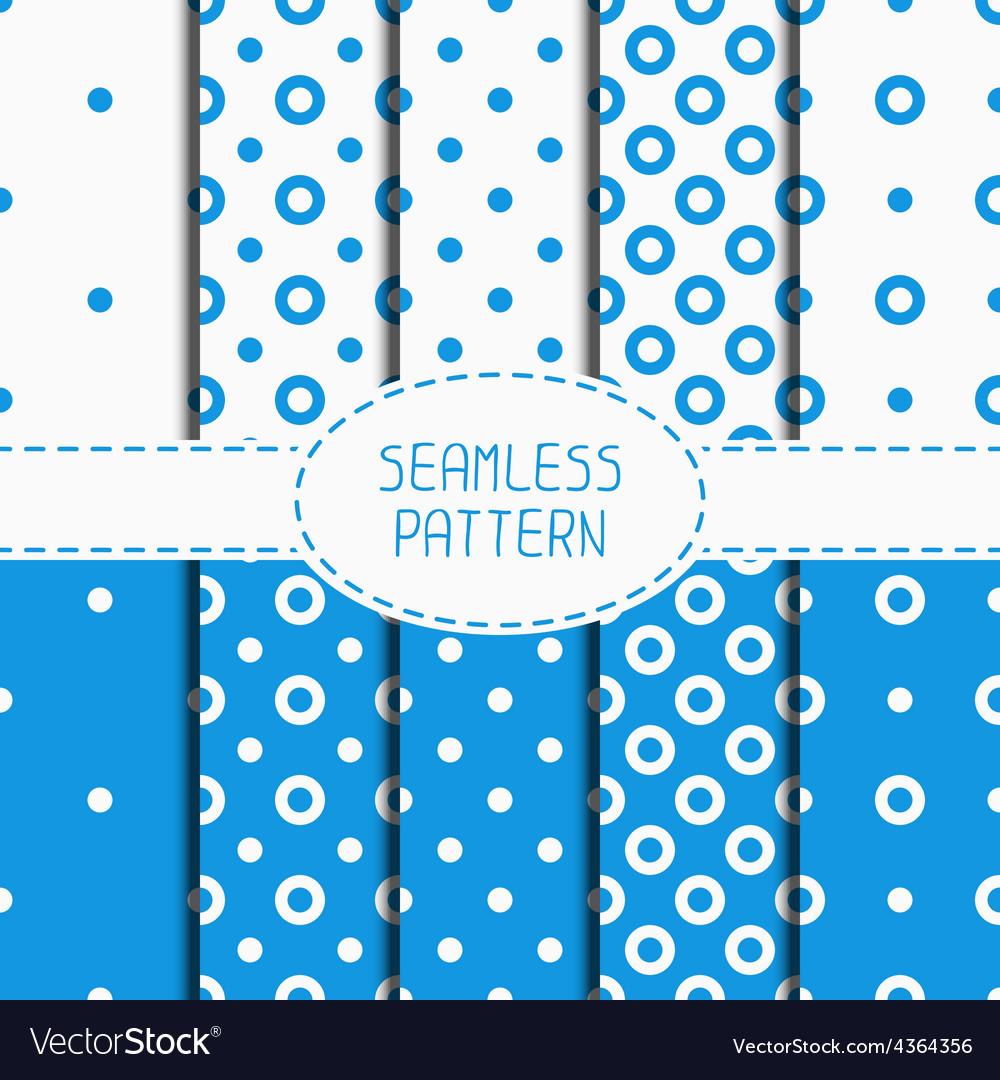 Set of blue geometric seamless polka dot pattern vector | Price: 1 Credit (USD $1)