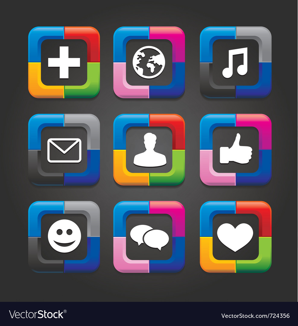 Social media buttons vector | Price: 1 Credit (USD $1)