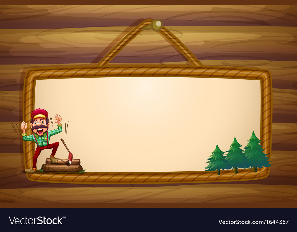 A hanging wooden template with a lumberjack vector | Price: 3 Credit (USD $3)