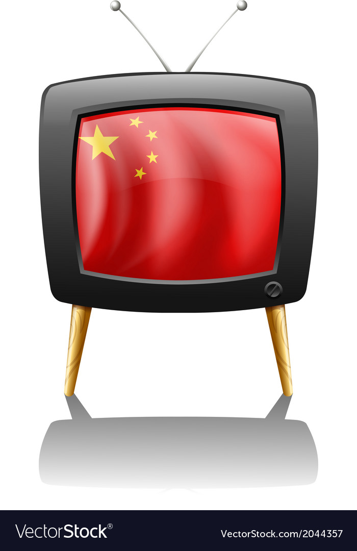 A tv with the flag of china vector   Price: 1 Credit (USD $1)