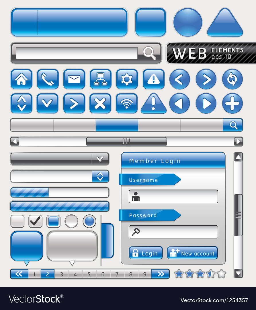 Blue button for website and app vector | Price: 3 Credit (USD $3)
