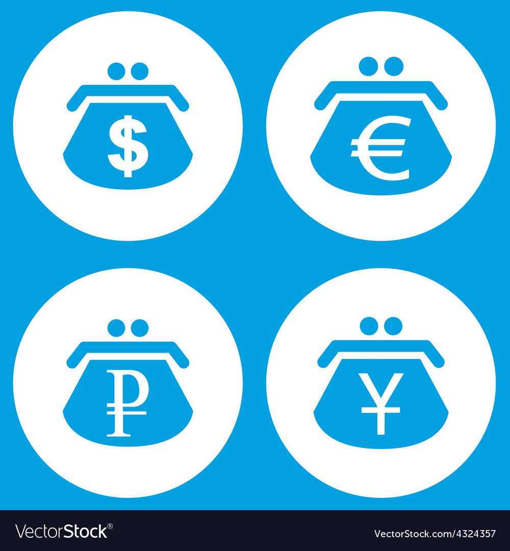Blue purse icons set vector   Price: 1 Credit (USD $1)
