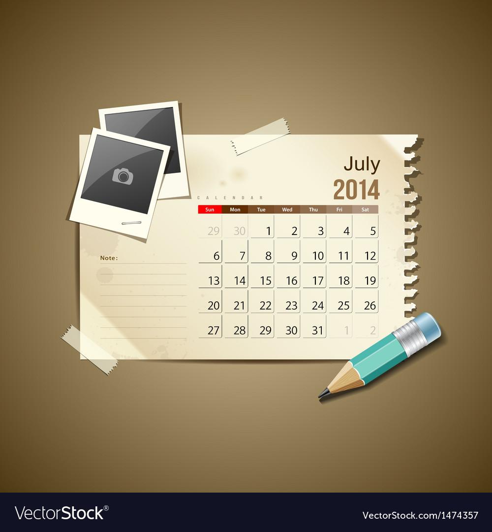 Calendar july 2014 vector | Price: 1 Credit (USD $1)