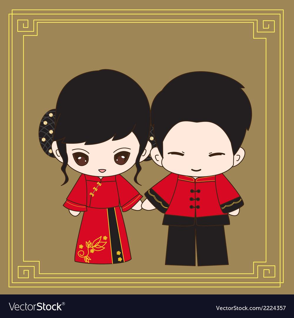 Chinese wedding dress vector   Price: 1 Credit (USD $1)