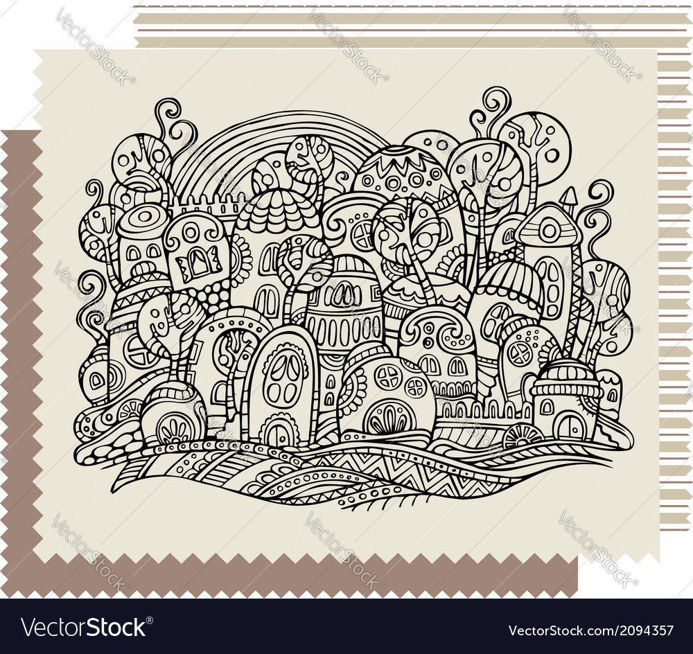 Fantasy fairy-tale drawing town vector | Price: 1 Credit (USD $1)