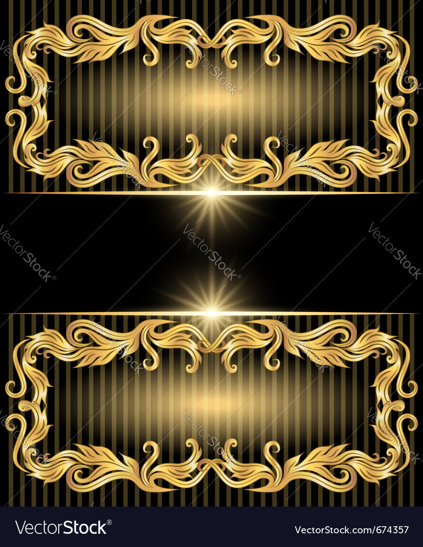 Golden ornament and stars vector