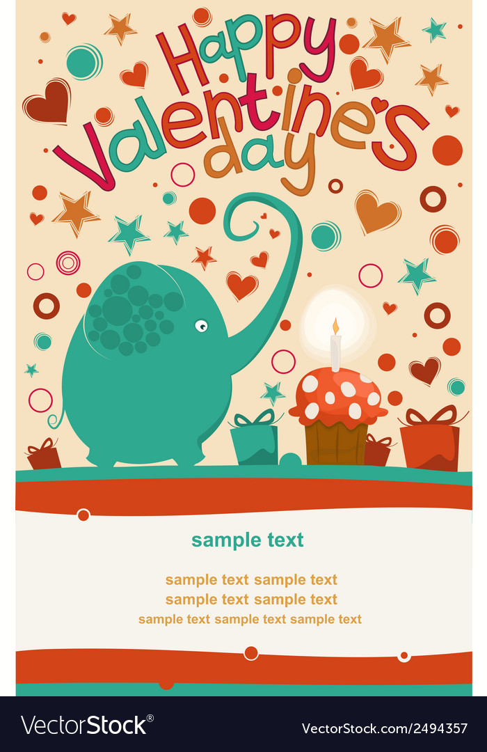 Happy valentines day greeting elephant vector | Price: 1 Credit (USD $1)
