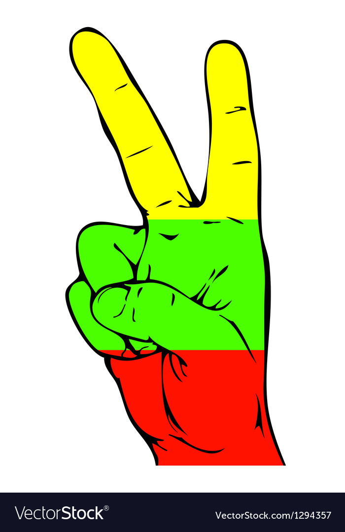 Peace sign of the lithuanian flag vector | Price: 1 Credit (USD $1)
