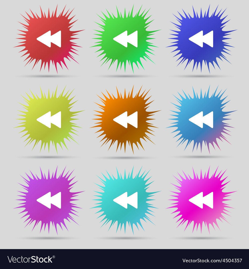Rewind icon sign a set of nine original needle vector | Price: 1 Credit (USD $1)